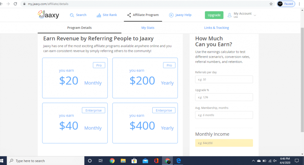 Jaaxy Affiliate Program: How Much I will Earn?